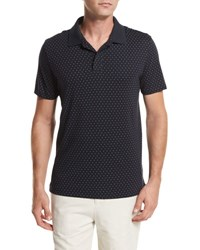 Vince Dot Print Pima Cotton Polo Shirt Navy