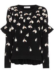 Valentino Floral Embroidered Sweater Black