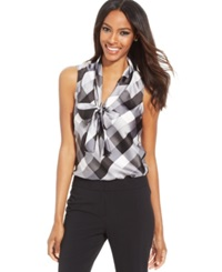 Nine West Sleeveless Plaid Tie Front Blouse Platinum Multi
