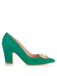 Rupert Sanderson Annette Point Toe Suede Pumps Green Multi