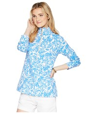 Lilly Pulitzer Upf 50 Skipper Popover Resort White On A Roll Long Sleeve Pullover Blue