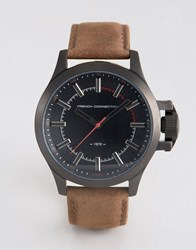 French Connection Watch Dark Brown Leather Strap Black Dial Brown