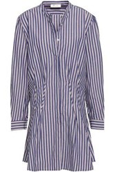 Anine Bing Woman Striped Cotton Poplin Mini Shirt Dress Indigo