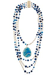 Rosantica Amuleto Blue Quartz And Agate Necklace