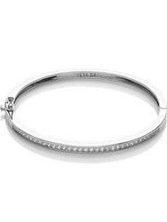 Cz By Kenneth Jay Lane Princess Cubic Zirconia Hinge Bangle Silver