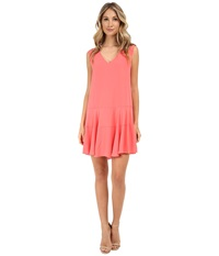 Bcbgmaxazria Clea A Line Double Flounce Tank Dress Coral Reef Women's Dress Red