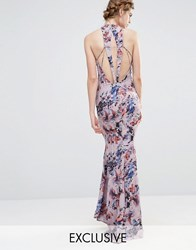Jarlo Wedding High Neck Maxi Dress With Fishtail And Detailed Back Multi Colour