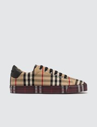 Burberry Contrast Check And Leather Sneakers Beige