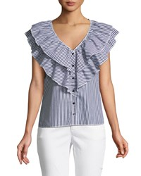 Romeo And Juliet Couture Ruffled Button Front Striped Blouse Black White