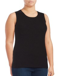 Lord And Taylor Plus Sleeveless Roundneck Ribbed Top