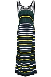 Pringle Of Scotland Woman Fluted Striped Ribbed Knit Midi Dress Emerald