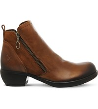 Fly London Zip Up Leather Boots Camel Leather