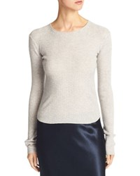 Vince Cashmere Ribbed Cropped Sweater Gray