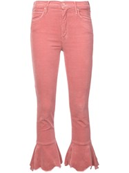 Mother Flared Cropped Jeans Pink And Purple