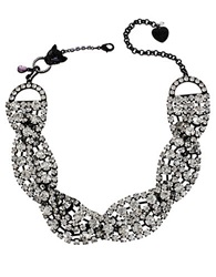 Betsey Johnson Crystal Twisted Collar Necklace Silver