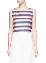 Johanna Ortiz 'Vizcaya' Stripe Bow Back Silk Shantung Top Multi Colour
