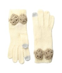 Betsey Johnson Winter Bloom Gloves Ivory Extreme Cold Weather Gloves White