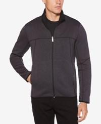 Perry Ellis Men's Full Zip Knit Sweater Charcoal Heather