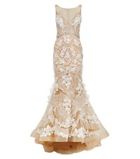 Jovani Embellished Ruffle Tulle Gown Female Neutral