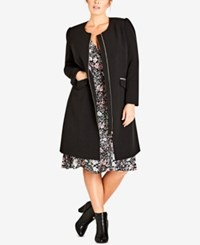 City Chic Trendy Plus Size Simple Elegance Collarless Coat Black