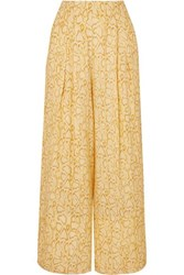 Faithfull The Brand Opal Cropped Snake Print Crepe Wide Leg Pants Pastel Yellow