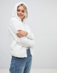 Urban Bliss Teddy Coat With Hood Off White