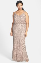 Adrianna Papell Plus Size Women's Beaded Blouson Gown Taupe Pink
