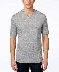 Weatherproof Split Neck Henley Shirt Gray