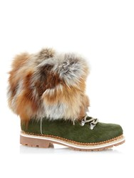 Montelliana Fur Trim Calf Hair Apres Ski Boots