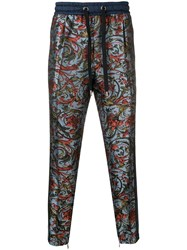Dolce And Gabbana Floral Print Side Stripe Trousers Blue