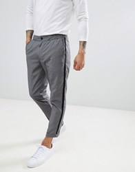 Pull And Bear Pullandbear Tailored Trouser In Grey With Side Stripe