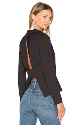 Bobi Black Woven Crepe Long Sleeve V Neck Blazer