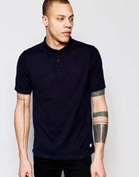 Only And Sons Knitted Polo Shirt Navy