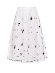 Jupe By Jackie Tattoo Embroidered Silk Organza Skirt White Black