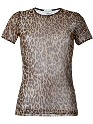 Dolce And Gabbana Vintage Sheer Leopard Top Brown