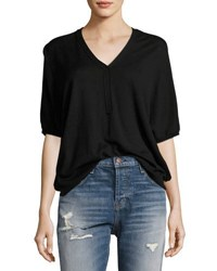 Atm Anthony Thomas Melillo Batwing Henley Sweater Top Black