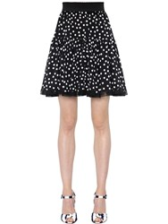 Dolce And Gabbana Polka Dot Silk Crepe De Chine Skirt