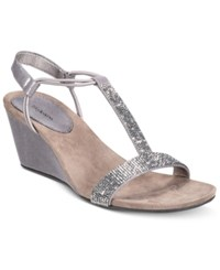 Styleandco. Style Co. Mulan 2 Embellished Evening Wedge Sandals Only At Macy's Women's Shoes Gunmetal Grey