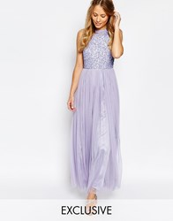 Maya High Neck Maxi Tulle Dress With Tonal Delicate Sequins Purple