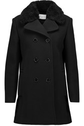 Sandro Many Shearling Trimmed Wool Blend Coat Black