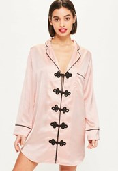 Missguided Pink Satin Piped Nightshirt