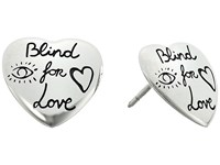 Gucci Blind For Love Stud Heart Earrings Silver