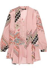 Etro Pussy Bow Printed Silk Blouse Pink