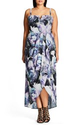 City Chic Plus Size Women's 'Luminous' Print Faux Wrap Maxi Dress