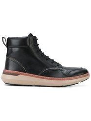 Armani Jeans Lace Up Ankle Boots Synthetic Resin Leather Rubber Black