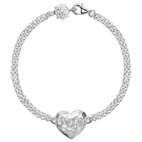 Dower And Hall Engravable Cherish The Moment Heart Double Chain Bracelet Silver