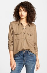 Junior Women's Sun And Shadow Western Chambray Shirt Brown Bark