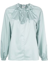 Tibi Drawstring Detail Blouse Green