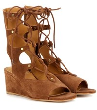 Chloe Foster Suede Gladiator Wedge Sandals Brown