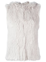 Yves Salomon Fur Gillet Grey